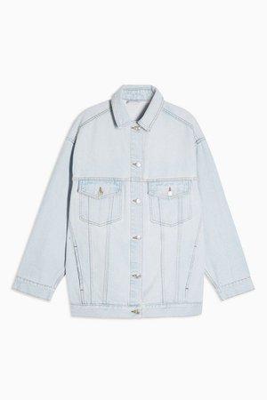 Bleach Denim Oversized Dad Jacket | Topshop