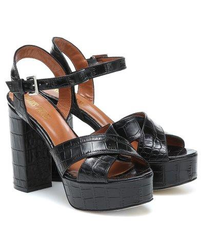 Croc-Effect Leather Sandals - Paris Texas | Mytheresa