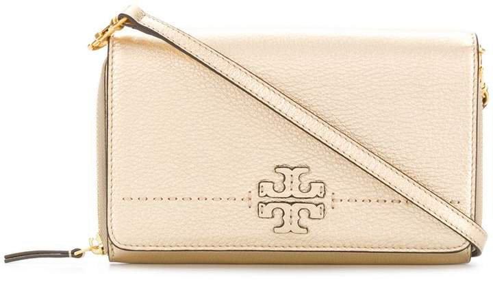 McGraw metallic flat wallet cross-body bag