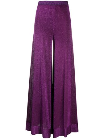 Purple & metallic Missoni wide-leg trousers - Farfetch