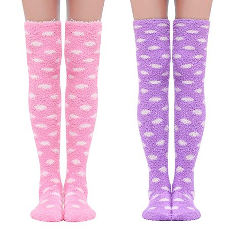 Amazon.com: Littleforbig Cute Coral Fleece Thigh High Long Dotted Socks 2 Pairs: Clothing