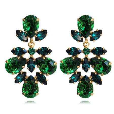 Selene Earrings / Dark Moss Green + Emerald | Caroline Svedbom Jewelry