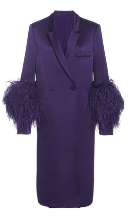 Sally LaPointe Feather-Accented Double Breasted Satin Blazer Coat