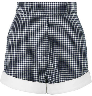 Checked Cotton-blend Tweed Shorts - Navy