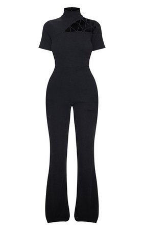 Black Cut Out Shoulder Detail Jumpsuit | PrettyLittleThing USA