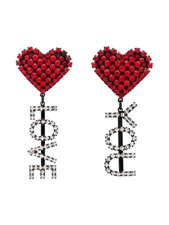 Ashley Williams Love You crystal-embellished clip-on Earrings - Farfetch