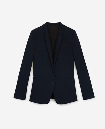 Navy blue suit jacket in flowing crepe | The Kooples