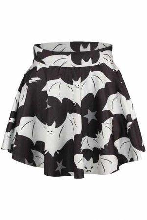 Bat Print Elastic Waist Flared Mini Skirt - Beautifulhalo.com