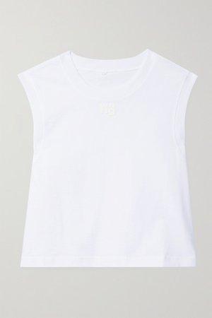 Cropped Printed Cotton-jersey Tank - White