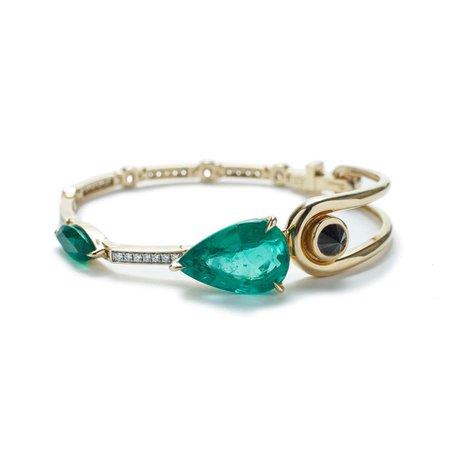 Bracelet 18 Yellow Gold, Emerald, White Diamonds and Black Diamond