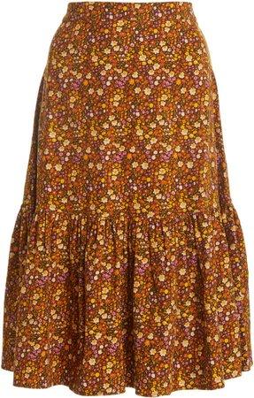byTiMo Floral-Printed Corduroy Skirt