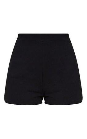 Black Curve Hem Shorts | Shorts | PrettyLittleThing