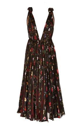Oscar de la Renta Floral-Patterened Chiffon Cocktail Dress