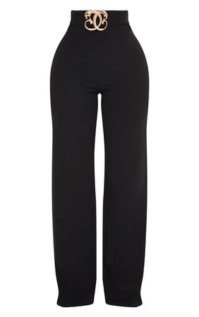 Shape Black Belt Trim Wide Leg Trousers   PrettyLittleThing USA
