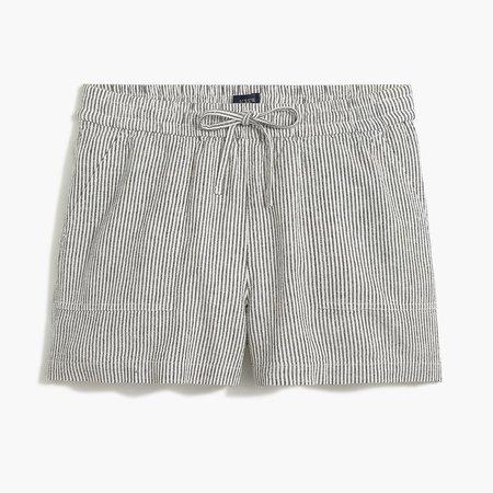 Striped linen-blend drawstring short