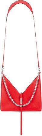 Small Cutout Chain Strap Leather Crossbody Bag