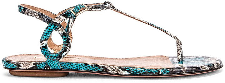 Almost Bare Jungle Snake Sandal Flat in Mix Blue | FWRD