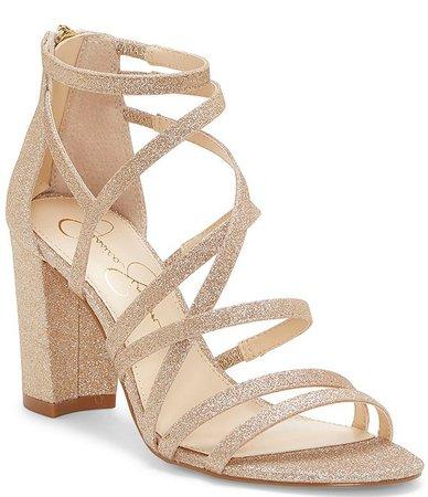 Jessica Simpson Stassey Glitter Strappy Block Heel Sandals | Dillard's