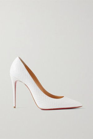 Kate 100 Snake-effect Leather Pumps - White