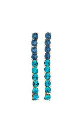 14k Gold-Plated Vertical Crystal Drop Earrings By Oscar De La Renta | Moda Operandi