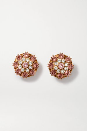 Pink Gold-tone crystal clip earrings | Dolce & Gabbana | NET-A-PORTER