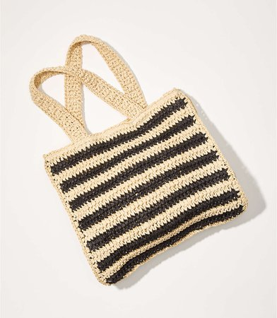 Striped Straw Tote Bag | LOFT
