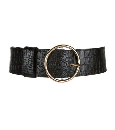 Black Croc Texture Round Wide Buckle Waist Belt | New Look