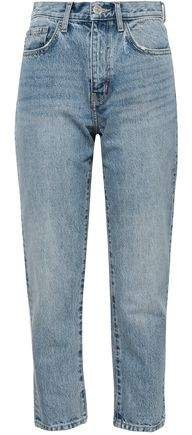 The Vintage Cropped Distressed Printed High-rise Slim-leg Jeans