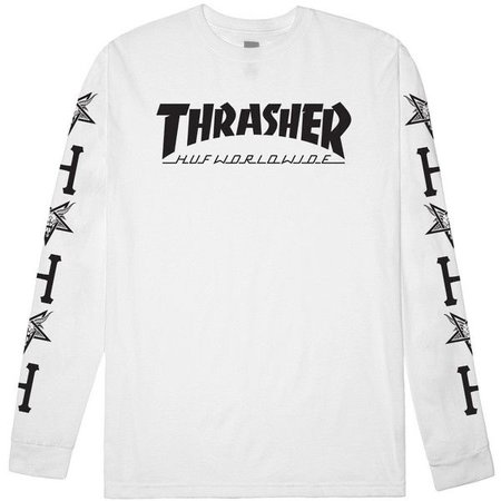 HUF HUF X Thrasher White Long Sleeve Tee