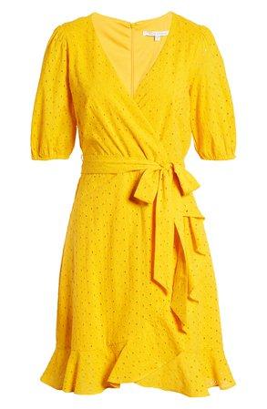 Julia Jordan Balloon Sleeve Cotton Eyelet Faux Wrap Dress | Nordstrom