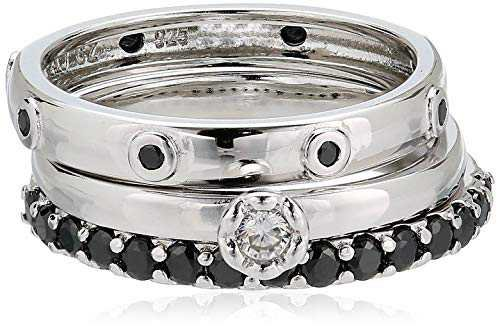 Amazon.com: Sterling Silver Black and White Cubic Zirconia Stacking Rings (3 Piece Set): Jewelry