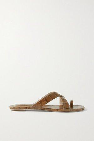 Croc-effect Leather Sandals - Tan