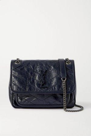 Navy Niki Baby mini quilted crinkled glossed-leather shoulder bag | SAINT LAURENT | NET-A-PORTER