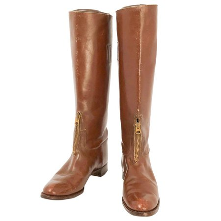1940s Carodan Brown Leather Riding Boots