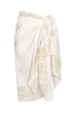 White And Gold Sarong | JULIET DUNN | Coverups | Beach Flamingo | Styles | Pinterest | Gold, Flamingo and Cover up