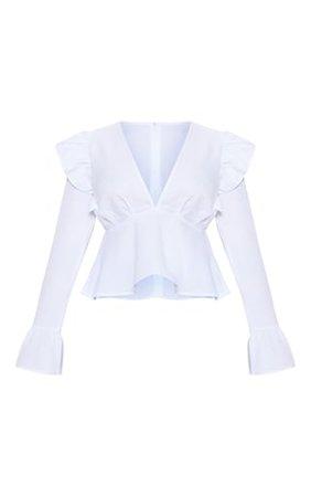 Petite White Frill Detail Flare Sleeve Blouse | PrettyLittleThing