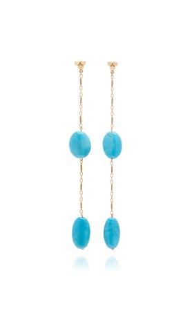 Haute Victoire 14K Gold Turquoise Earrings