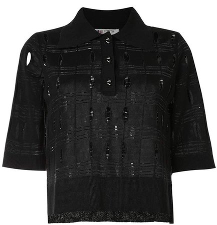 Perforated Detail Polo Shirt