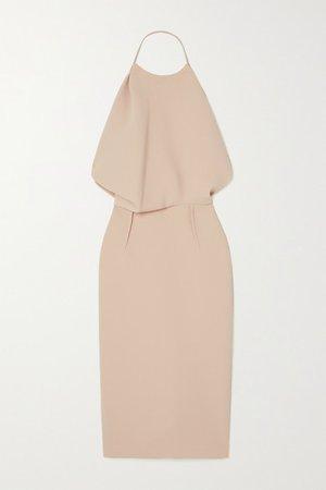 Signet Draped Cady Halterneck Midi Dress - Beige