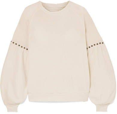 The Bishop Studded Cotton-jersey Sweatshirt - Cream
