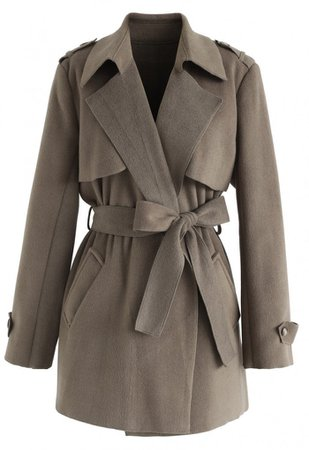 Open Front Belted Trench Coat in Brown - NEW ARRIVALS - Retro, Indie and Unique Fashion