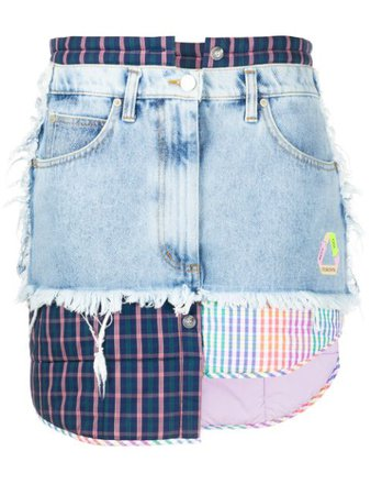 Natasha Zinko Patchwork Denim Skirt - Farfetch