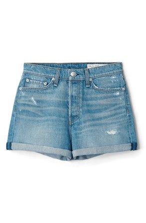 rag & bone Maya Distressed High Waist Cuffed Denim Shorts | Nordstrom