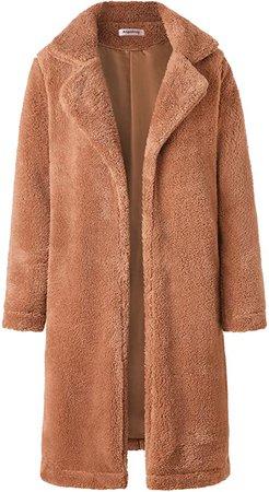 Angashion Women's Fuzzy Fleece Lapel Open Front Long Cardigan Coat Faux Fur Warm Winter Outwear Jackets with Pockets at Amazon Women's Clothing store