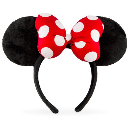 Minnie Mouse Satin Polka Dot Bow Ear Headband – Red | shopDisney