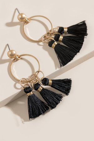 Kristen Tasseled Metal Circle Drop Earrings | francesca's