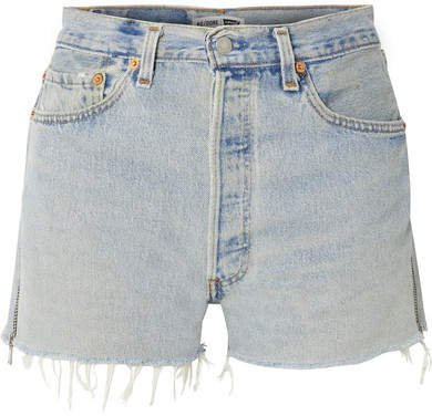 Levi's Zip-embellished Frayed Denim Shorts - Light denim