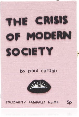 Olympia Le-Tan Crisis Of Modern Society Embroidered Book Clutch