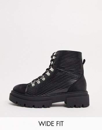 Glamorous Wide Fit flat hiker boots in black croc mix | ASOS