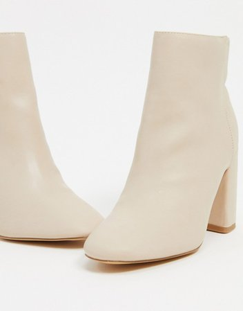London Rebel heeled ankle boots in beige | ASOS